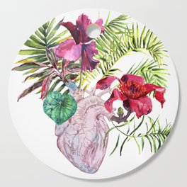 Human heart with flowers, plant and leaf, watercolor Cutting Board
