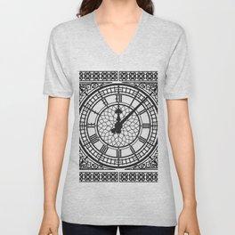 Big Ben, Clock Face, Intricate Vintage Timepiece Watch Unisex V-Neck