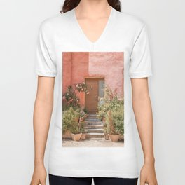 Pink House Front Door In France Photo | Europe Summer Travel Photography | Greens And Roses Art Print Unisex V-Neck