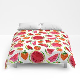 Watercolor watermelon and strawberries fruit illustration Comforters