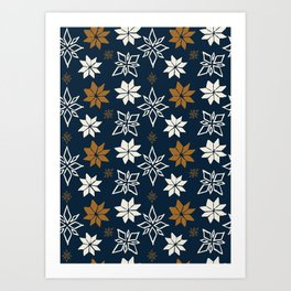 Painted Nordic Shapes, Umber and Navy Art Print