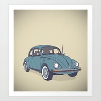 vw Art Prints featuring VW Beetle by Lara Trimming
