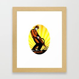 Construction Worker Jackhammer Oval Framed Art Print