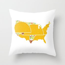 Build Tacos Not Walls Funny Taco USA Map Holiday Design Gift Throw Pillow