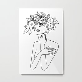Woman With Floral Wreath  Minimal Line Art  #society6 #buyart Metal Print