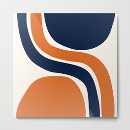 Abstract Shapes 66 in Vintage Orange and Navy Blue Metal Print