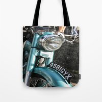 moto Tote Bags featuring Vintage moto by Johanna Arias