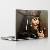 jack sparrow Laptop & iPad Skins featuring Jack Sparrow by Hernán Castellano