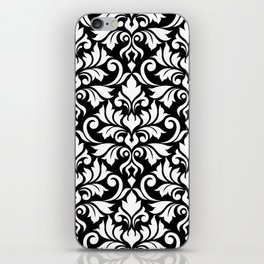 Flourish Damask Big Ptn White on Black iPhone Skin