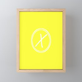 Monogram - Letter X on Electic Yellow Background Framed Mini Art Print