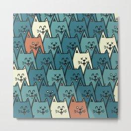 Happy Happy Happy Cats Metal Print