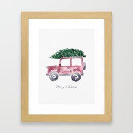 Merry Christmas - Red Jeep Wrangler with Christmas Tree Framed Art Print