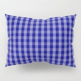 Navy Blue Gingham Check Plaid Pattern Pillow Sham