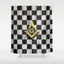 Square Compass and Checkers Shower Curtain