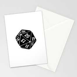 20 Sided Spindown Die - White & Black Stationery Cards