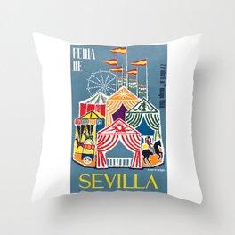 Spain 1960 Seville April Fair Travel Poster Throw Pillow