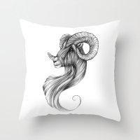 ram Throw Pillows featuring Ram by Judy Csotsits