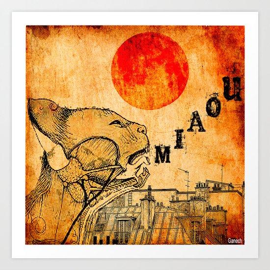 Le chat de Paris  Art Print