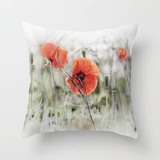 Poppies(mist). Throw Pillow