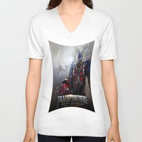 transformers V-neck T-shirts featuring transformers  , transformers  games, transformers  blanket, transformers  duvet cover by ira gora