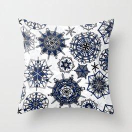 mandala snowflakes Throw Pillow