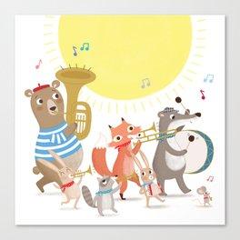 Children's Nursery Music Animal Band Canvas Print