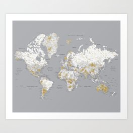 Detailed marble world map in gold and grey Art Print