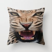 leopard Throw Pillows featuring Leopard   by Brian Raggatt