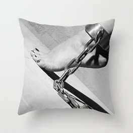 Bare Feet shackled with heavy cuffs Throw Pillow