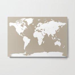 Minimalist World Map in Neutral Taupe   Neutral Modern Travel Map Decor Metal Print