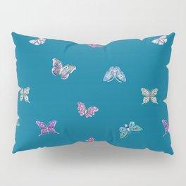 Christmas jeweled butterflies on teal, butterfly, jewels, precious, butterflies, new year, t Pillow Sham