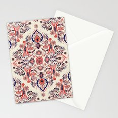 Modern Folk in Coral Red and Indigo Stationery Cards