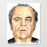 jack nicholson Canvas Prints featuring Jack Nicholson by Katherine Mary