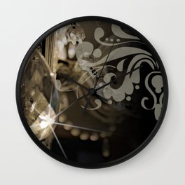 Sparkly Chandelier & Damask Wall Clock