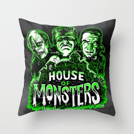 House of Monsters Phantom Frankenstein Dracula classic horror Throw Pillow