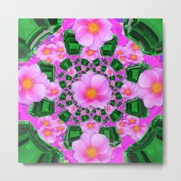 May Babies Emerald Gems & Pink Roses Metal Print