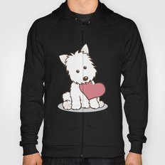 Westie Dog with Love Illustration Hoody