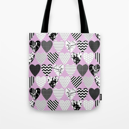 Hearts And Love - Black and white, geometric Pattern Tote Bag