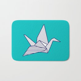 Swan, navy lines on turquoise Bath Mat