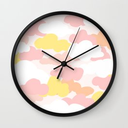 Pastel Serbert Cloud Pattern Wall Clock