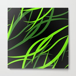 Pattern from colored intersecting flowing green lines in the nautical theme. Metal Print