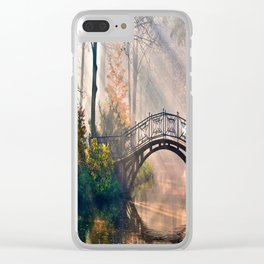 Bridge in the forest Clear iPhone Case