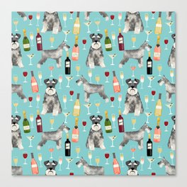 Schnauzer wine champagne cocktails rose dog breed pattern Canvas Print