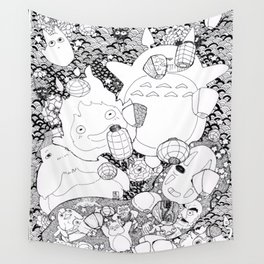 Ghibli-Inspired Collage Wall Tapestry