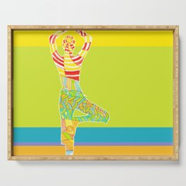 Simple silhouette of woman doing yoga Serving Tray