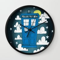 tardis Wall Clocks featuring blue box by Matthew Taylor Wilson
