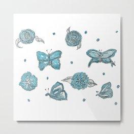 Butterfly flutterby blue Metal Print