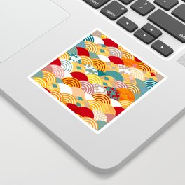 Nature background with japanese sakura flower, orange red pink Cherry, wave circle pattern Sticker