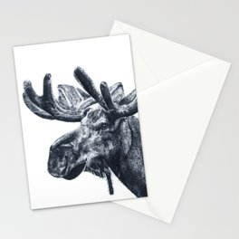 Ink pointillism moose drawing Stationery Cards