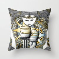 valar morghulis Throw Pillows featuring Lady of light by Anca Chelaru